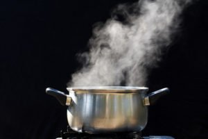 photo of steam rising from cooking pan