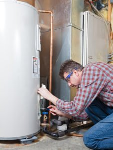 water heater being serviced