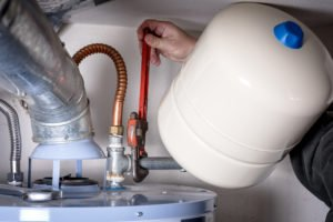 photo of water heater with expansion tank shown