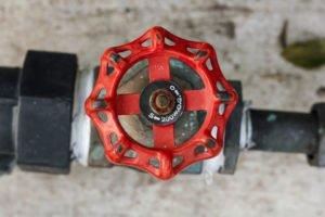photo of round handle water shut off valve