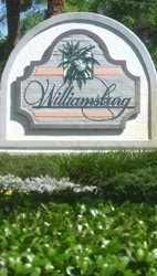 entry sign for williamsburg community in Orlando FL, stated by Levitt Homes