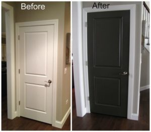before and after repainting a white door black