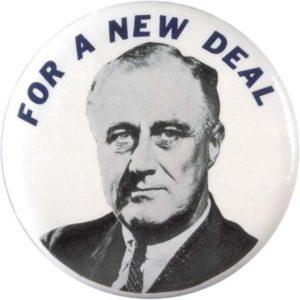 new deal logo with photo of president Franklin Rosevelt